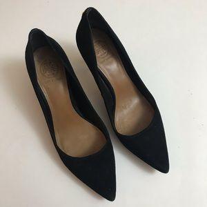 Black suede mid heel pumps, sz 9